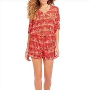 Collective Concepts Coral Red Open Back Romper New
